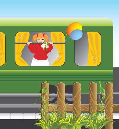 wood railways: Girl with bouquet of chamomiles and balls in the window of train. Vector