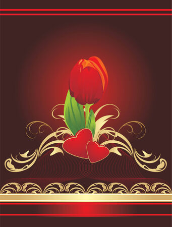 Tulip, hearts and gothic ornament. Wrapping. Vector Vector