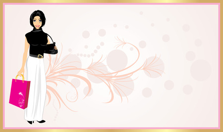sprig: Fashionable beautiful woman with handbag and package. Pattern for card. Vector Illustration