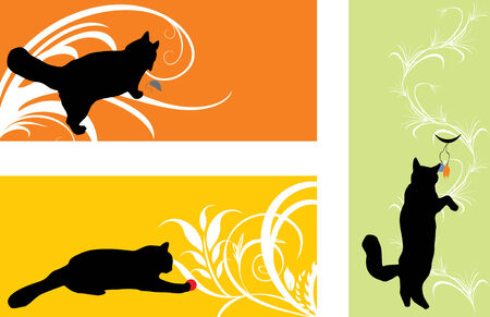 Silhouettes of playing kittens. Stickers.  Vector