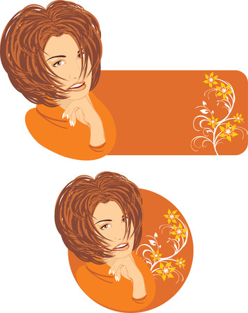 womanish: Portrait of beautiful woman with floral ornament. Two stickers.  Illustration