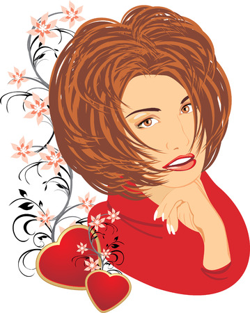 french manicure: Portrait of beautiful woman with floral ornament and red hearts. Vector