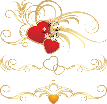 Hearts with floral ornament. Pattern for frames. Vector Vector