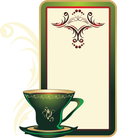 Cup and decorative card with ornament. Vector Vector