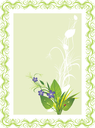 Bouquet of flowers and grass with ladybird. Spring composition for card. Stock Vector - 6462444