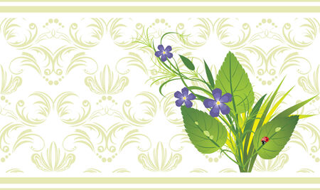 Bouquet of flowers and grass with ladybird on the decorative background.  Stock Vector - 6462445