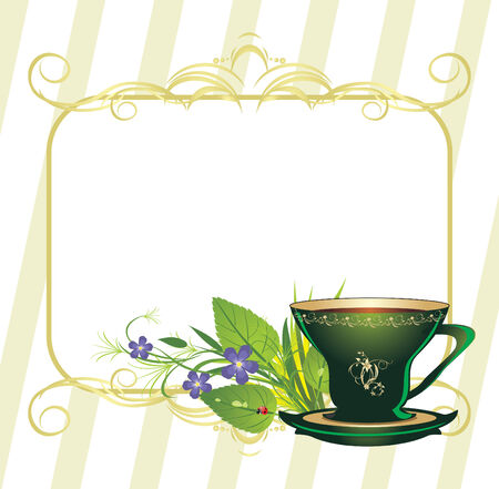 Cup and bouquet of flowers. Spring composition for card.  Stock Vector - 6462442