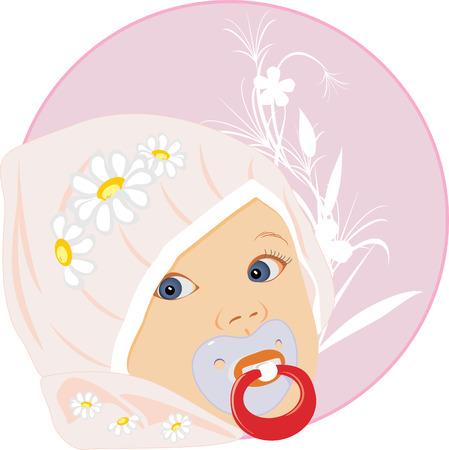 Retrato del beb�. Pegatina.  Vectores