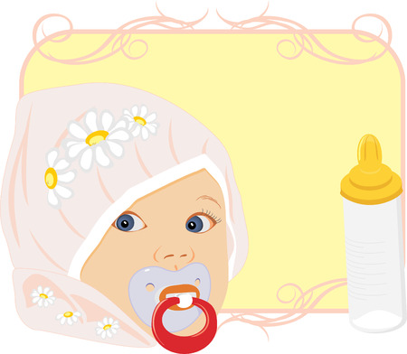 Portrait of the baby with bottle for milk. Card.  Vector