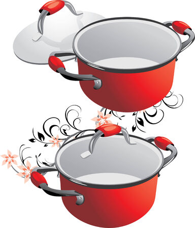 Two empty red pans. Stock Vector - 6541688