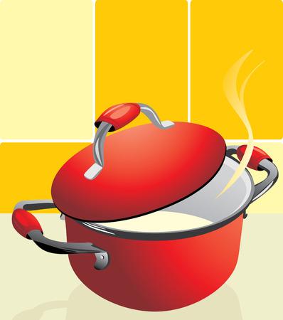 Red pan with porridge.