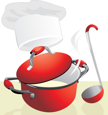 lids: Red pan with porridge. Meal time.