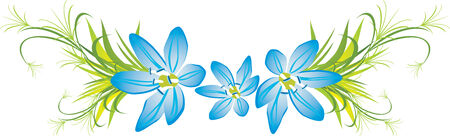 sprig: Branch with three spring flowers.  Illustration