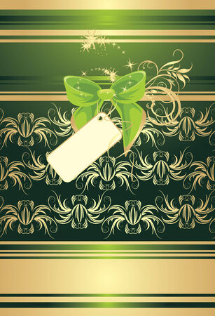 Green bow with card on the decorative background. Wrapping Vector