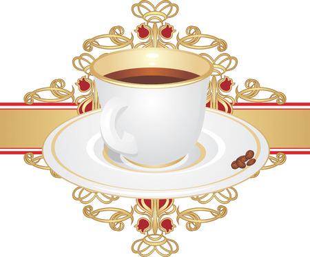 装飾的な飾りにトウモロコシとコーヒー カップ