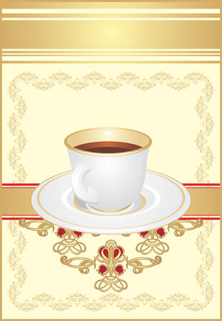 Cup with coffee on the decorative ornament. Wrapping Vector