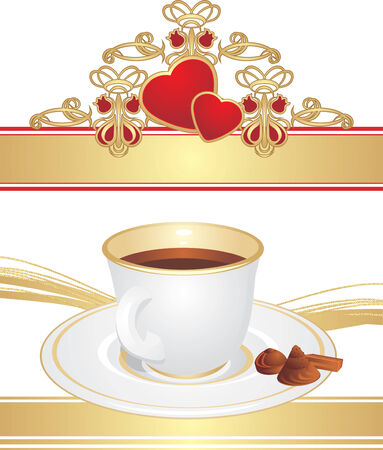 Cup with coffee and candies Vector