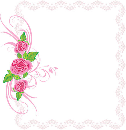 Pink roses with ornament in the decorative frame
