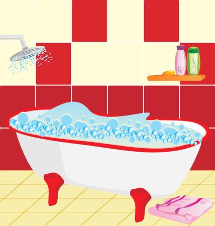 soap suds: Bathroom. Preparation to bathing Illustration