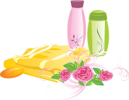 bathe: Bouquet of roses and set for bathing