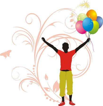 is masculine: Masculine silhouette with colorful balloons Illustration
