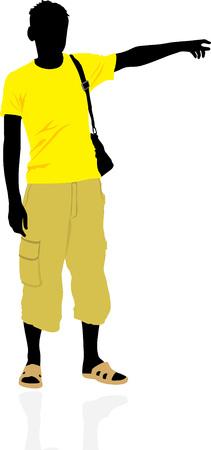 is masculine: Tourist. Masculine silhouette Illustration