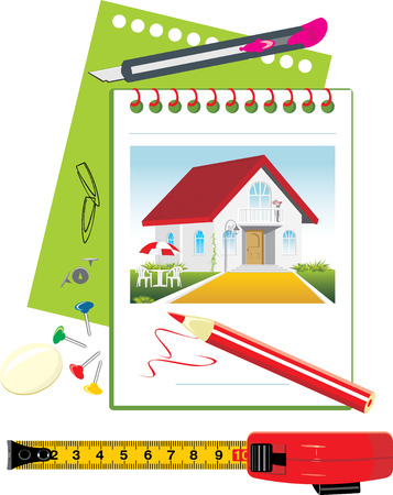 Notebook with office accessories. Project of stylish private residence Vector