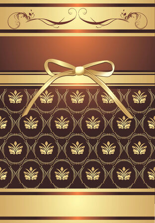 Golden bow on the decorative background Vector