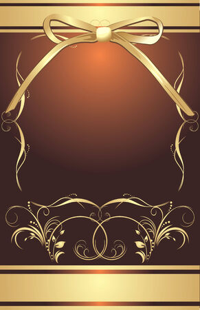 Golden bow with decorative frame. Background for wrapping Stock Vector - 7117809