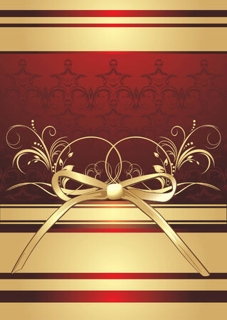 Golden bow with ornament. Decorative wrapping Stock Vector - 7117819