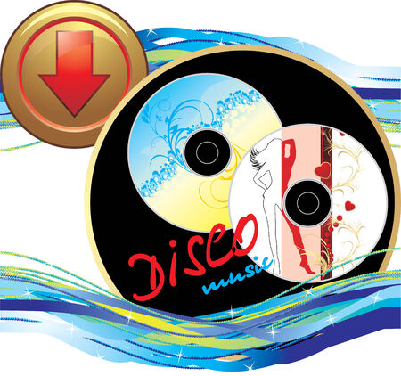 itc: Two music disk. Sticker with button. Icon for design