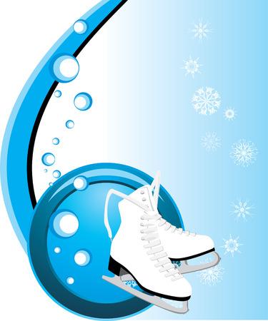 ice skating: Figure skates. Composition for card Illustration
