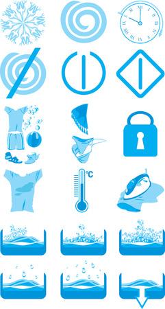 ciclo del agua: Iconos para la instrucci�n a una m�quina de lavar
