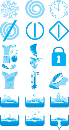 instruct: Icons for the instruction to a washing machine