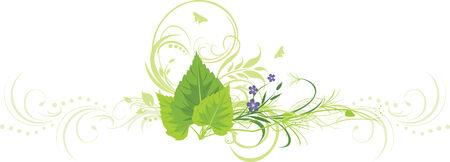 a sprig: Hojas de abedul, flores con ramita y ornamentos decorativos
