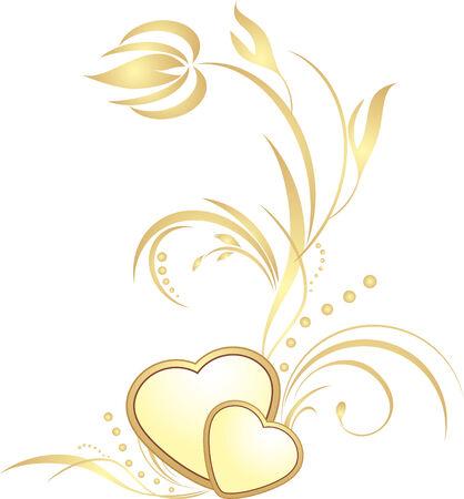sprig: Golden hearts with decorative sprig Illustration
