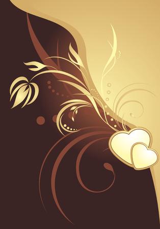 a sprig: Golden hearts with decorative sprig. Background for card Illustration