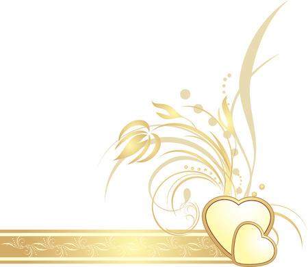 Corazones de oro con ramita decorativa de la cinta