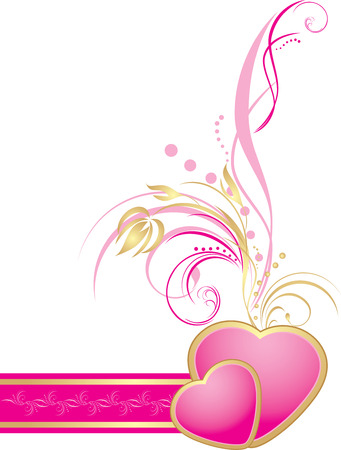 rococo: Pink hearts with decorative sprig on the ribbon. Element for decor Illustration