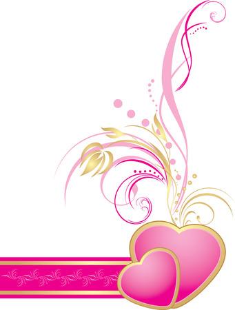 a sprig: Rosa corazones con ramita decorativa de la cinta. Elemento para decoraci�n