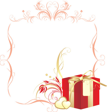 red gift box: Decorative box and hearts with ornament in the frame Illustration