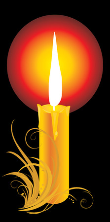 waxen: Burning yellow candle with ornament