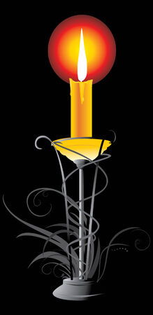 waxen: Burning yellow candle in the candlestick Illustration