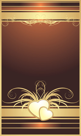 Golden hearts with floral ornament. Background for card Vector