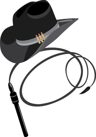 Cowboy hat and whip Illustration