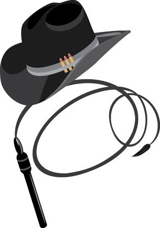 Sombrero de vaquero y látigo