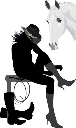 accessories horse: Silhouette of cowboy-woman Illustration