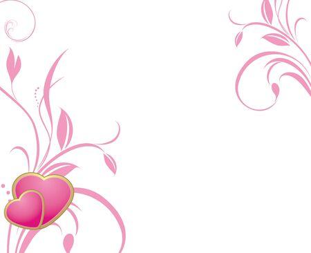 Twee roze harten met decoratieve takjes