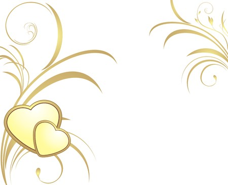 Zwei goldene Herzen mit dekorativen Zweige