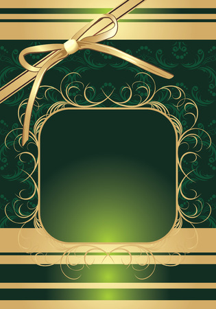 Golden bow on the decorative background for wrapping Vector